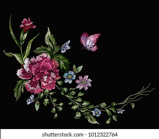 Embroidery floral native pattern with pink carnation and butterfly. Vector embroidered patch with flowers for wearing design