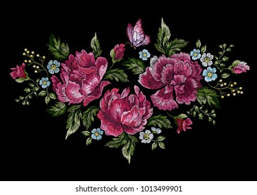 Embroidery floral native pattern with roses and butterfly. Vector embroidered patch with flowers for wearing design