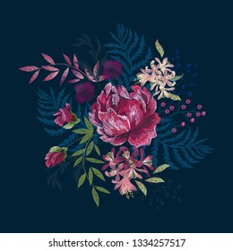 Embroidery floral native pattern with roses and flowers. Vector embroidered patch with flowers for wearing design.