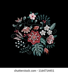Embroidery floral neckline pattern with birds and flowers. Vector embroidered bouquet with flowers for wearing design.