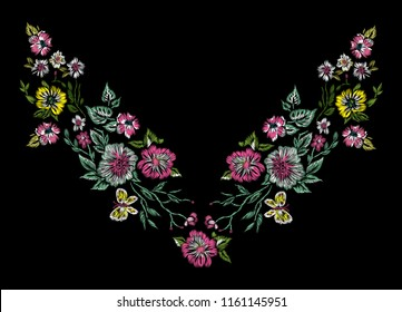 Embroidery floral neckline pattern with flowers and butterfly. Vector embroidered bouquet with flowers for wearing design.