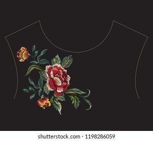 Embroidery floral neckline pattern with red rose. Vector embroidered bouquet with flowers for wearing design.
