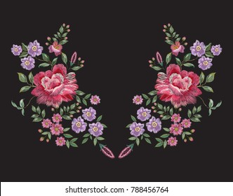 Embroidery floral neckline pattern with red roses and violets. Vector embroidered bouquet with flowers for wearing design.
