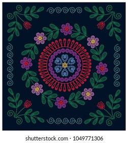 Embroidery with  floral oriental ornament. For t-shirt design, poster, banner and other design.