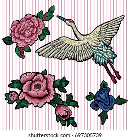 Embroidery floral patches with peonies and crane. Vector embroidered flowers elements for fashion design