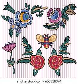 Embroidery floral patches with roses and bee. Vector embroidered flowers elements for fashion design.