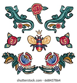 Embroidery floral patches with roses, lizards and bee. Vector embroidered flowers stickers for fashion design