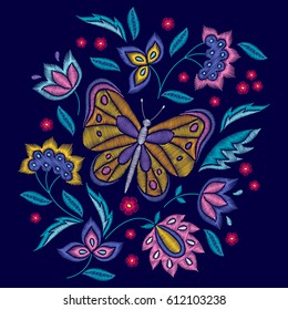 Embroidery floral pattern with butterfly and flowers on black background. Vector fashion ornament