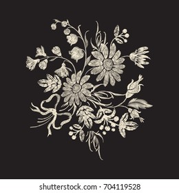 Embroidery floral pattern with chamomiles, bow and flowers. Vector embroidered one-color element for clothing design.