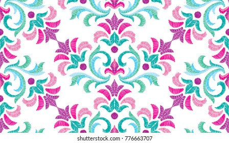 Embroidery floral pattern, decorative textile ornament, pillow or bandana decor. Bohemian handmade style background design.