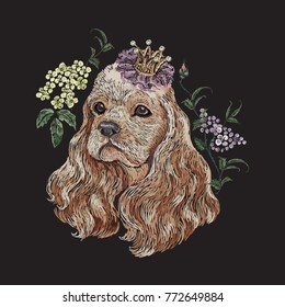 Embroidery floral pattern with dog in crown and lilac. Vector seamless embroidered template with flowers and animal for fashion design