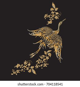 Embroidery floral pattern with gold crane. Vector embroidered elements for clothing design.