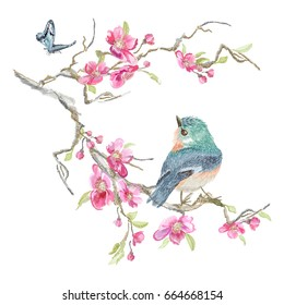 Embroidery floral pattern with oriental cherry blossom and varied titmouse. Vector embroidered patch with flowers and bird for clothing design