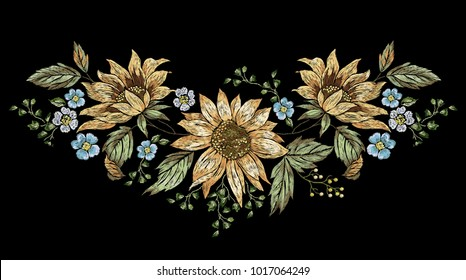 Embroidery floral pattern with poppies. Vector embroidered illustration for wearing design