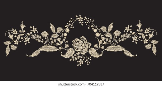 Embroidery floral pattern with rose and flowers. Vector embroidered one-color element for clothing design.
