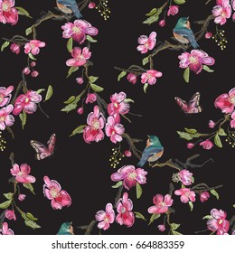 Embroidery floral seamless pattern with oriental cherry blossom and varied titmouse. Vector embroidered flowers and bird for clothing design.
