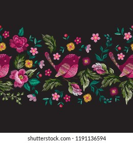 Embroidery floral traditional pattern with birds and roses. Vector embroidered bouquet with flowers for wearing design.