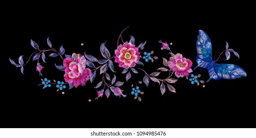 Embroidery floral traditional pattern with butterfly and roses. Vector embroidered bouquet with flowers for wearing design.