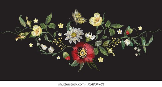 Embroidery floral traditional pattern with poppy, chamomiles and butterfly. Vector embroidered bouquet with flowers for wearing design.