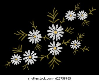 Embroidery flower daisy gerbera herb sticker patch fashion print textile vector illustration. White delicate vintage ornament art