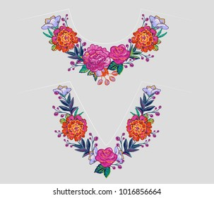 Embroidery flower v-neck and round neck line patch for t-shirt design. Floral print for textile and fabric vintage tribal illustration isolated on white background