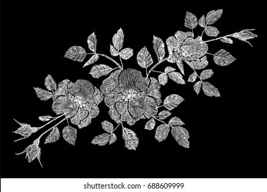 Embroidery flower white rose wildflower dogrose briar patch. Fashion print textile ornament decoration on black vector illustration