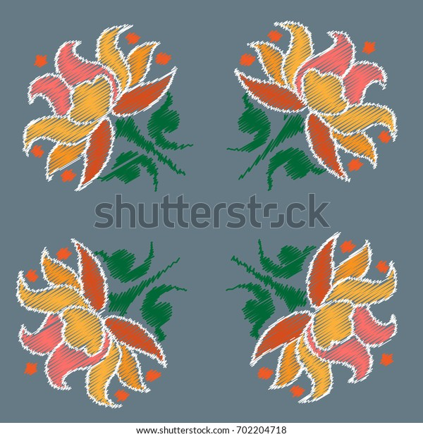 Embroidery. Flowers in a Decorative Style. Vector illustration.