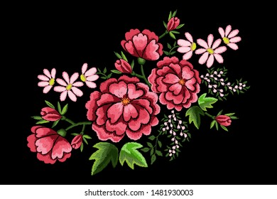Embroidery flowers, dog roses and chamomile on black background. Satin stitch imitation, vector.