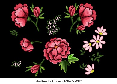 Embroidery flowers, dog roses and chamomile on black background. Elements for clothes decoration. Satin stitch imitation, vector.