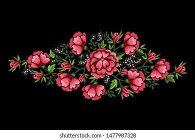 Embroidery flowers and dog roses on black background. Satin stitch imitation, vector.