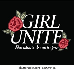 embroidery flowers and slogan