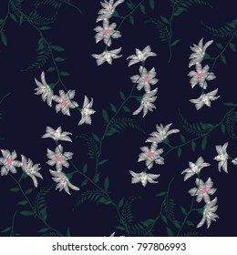 Embroidery flowers, spring seamless pattern. Classical forest embroidery autumn leaves, spring flowers, seamless pattern. Fashionable template for design of clothes, t-shirt design on navy blue