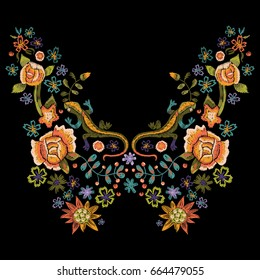 Embroidery folk neck line pattern with roses and lizards. Vector embroidered floral bouquet with flowers for clothing design