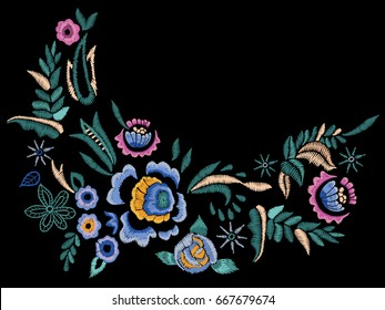 Embroidery folk neck line pattern with blue roses. Vector embroidered floral flowers for clothing design.