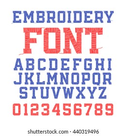 Embroidery font, letters and numbers vector illustration