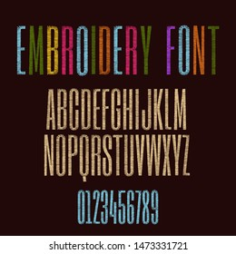 Embroidery font stitched with hand drawn thread. Alphabet letters and numbers vector illustration