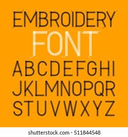 Embroidery font, thin style vector illustration