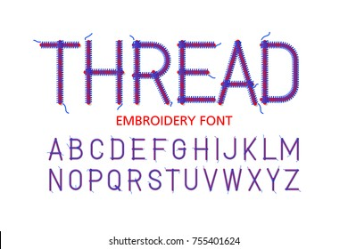 Embroidery font Thread, vector illustration