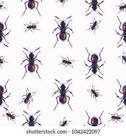 Embroidery forest ant, insect patch. Fashion patches with summer wild nature illustration embroideries. Seamless pattern backdrop. Trendy traditional art with ants insects on white background.