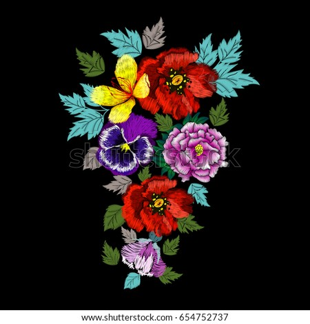 embroidery of garden field flowers on a black background for your design vector illustration - Embroidery Garden