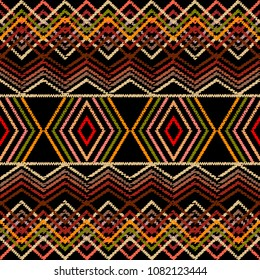 Embroidery geometric vector seamless border pattern. Abstract grunge striped background. Embroidered stripes, lines, zigzag, rhombus. Ethnic border design. Tribal aztec style tapestry ornament