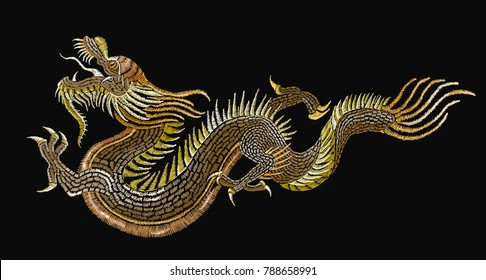 Embroidery golden chinese dragons. Classical embroidery asian golden dragons t-shirt design. Clothes, textile design template