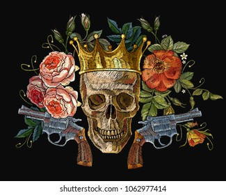 Embroidery golden crown, guns, skull and red roses. Dia de muertos, day of the death art. Gothic romanntic embroidery human skulls, revolvers, crown and red roses and pink peonies