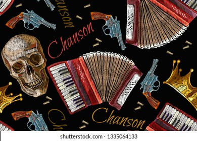 Embroidery golden crown, guns, skull and accordion seamless pattern. Chanson concept. Music art. Template for clothes, t-shirt design