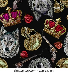 Embroidery golden crown, guns, wolf head, human skull and roses seamless pattern. Fashion template for clothes, textiles, t-shirt design