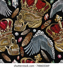 Embroidery golden crown, human skull, feathers and angel wings seamless pattern. Fashion template for clothes, textiles, t-shirt design. Embroidery medieaval seamless pattern