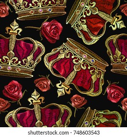 Embroidery golden crown and roses flowers seamless pattern. Royal embroidery medieval crown of the emperor and roses pattern. Fashion template for clothes, textiles, t-shirt design