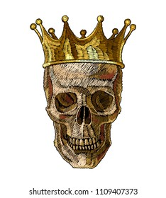Embroidery golden crown and skull. Dia de muertos, day of the death art. Gothic romanntic embroidery human skulls, clothes template and t-shirt design