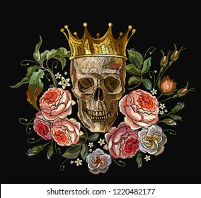 Embroidery golden crown, skull and red roses. Dia de muertos, day of the death art. Medieval romanntic art