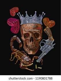 Embroidery golden crown and skull, skeleton, guns and scorpion. Gothic crime romanntic embroidery human skulls, clothes template and t-shirt design
